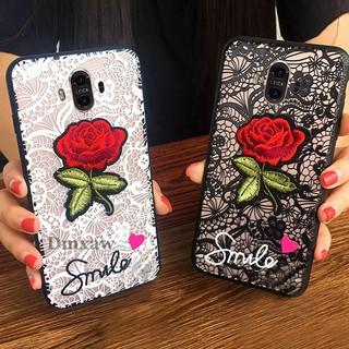 適用於華為Mate 10 Pro Case奢華蕾絲玫瑰花朵微笑矽膠手機殼