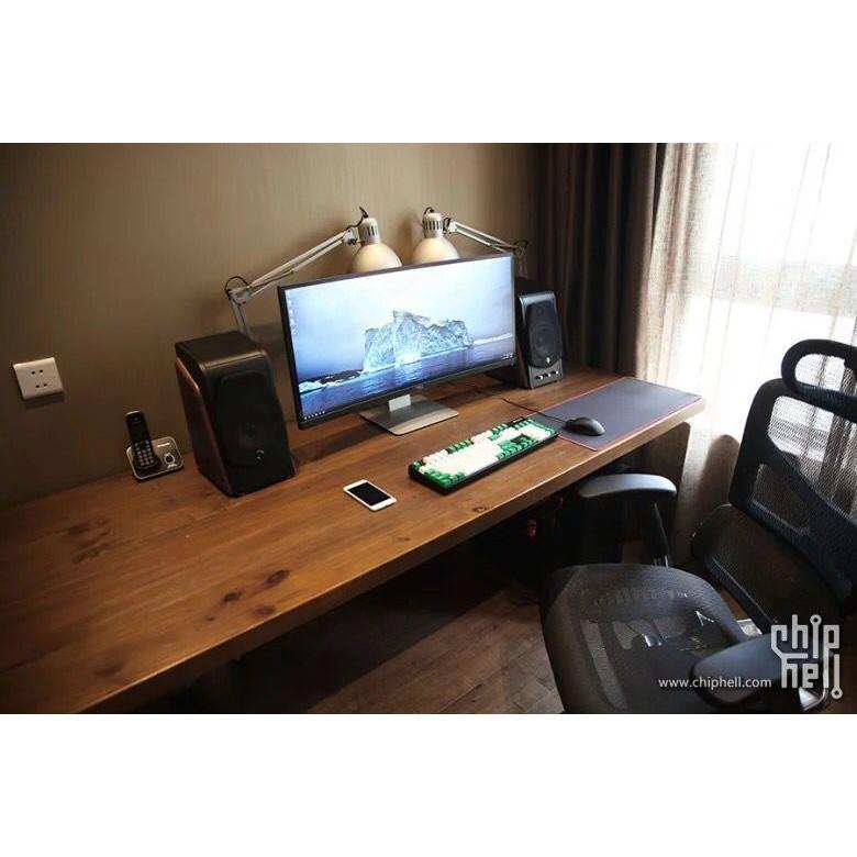 北歐實木電腦桌簡約現代單人書桌原木辦公桌寫字臺鐵藝復古工作桌