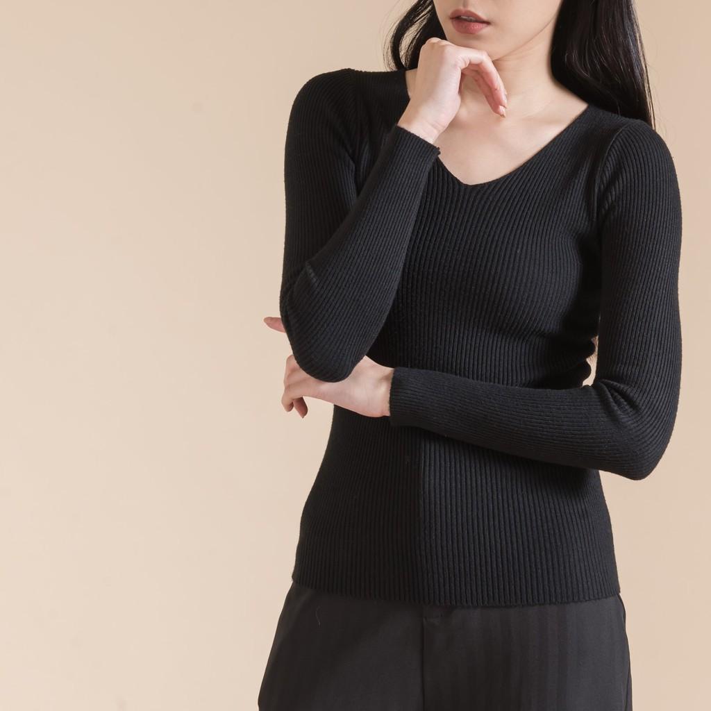 【MiROO】V領坑條針織上衣(杏/灰/黑)