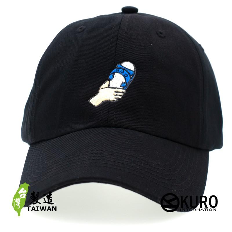 KURO-SHOP 手拿藍白拖 電繡 老帽 棒球帽 布帽(可客製化)