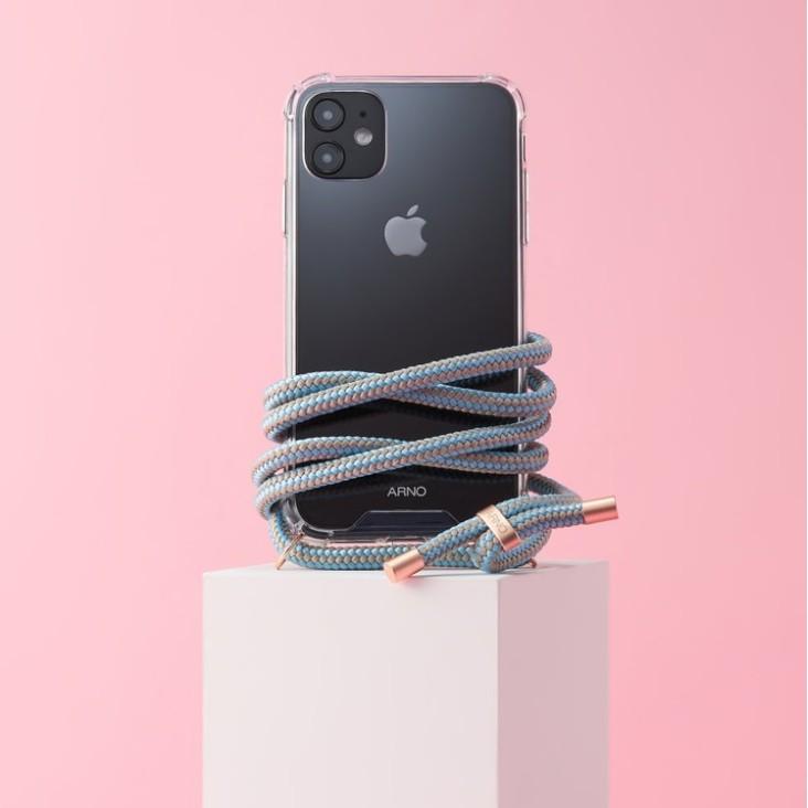 Arno 編繩背帶透明iPhone手機殼_天空灰