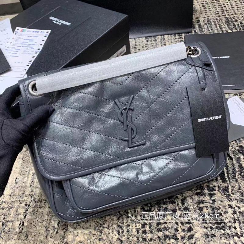 暴力熊&海購 🔥專櫃品質 YSL 聖羅蘭【正品原廠皮 NIKI】(藍灰色) 鏈條斜挎包 肩背包