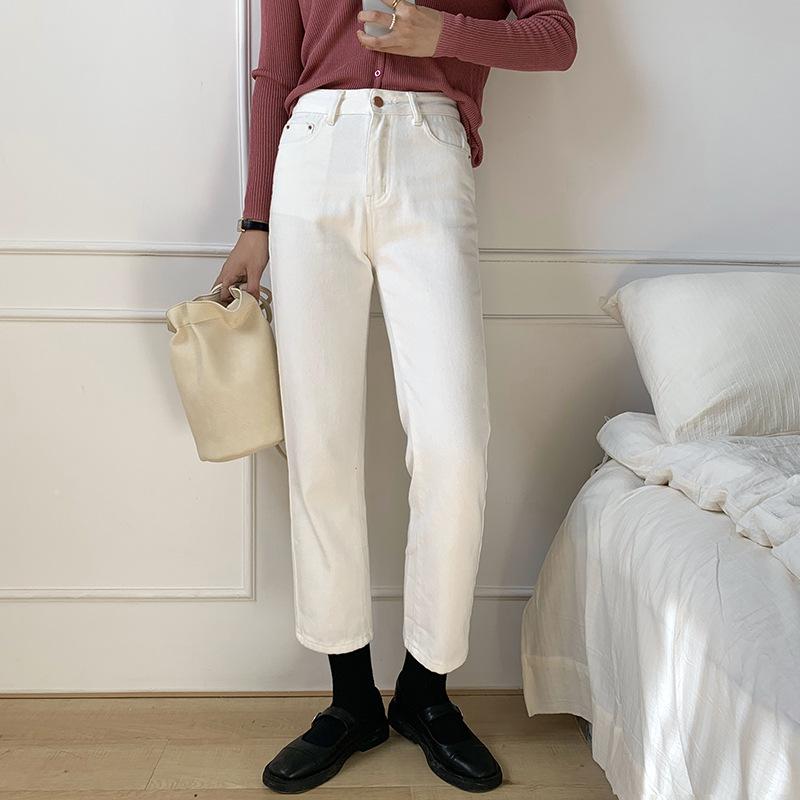 基礎高腰白色直筒牛仔褲女2020秋季韓版寬鬆百搭休閒褲K8117