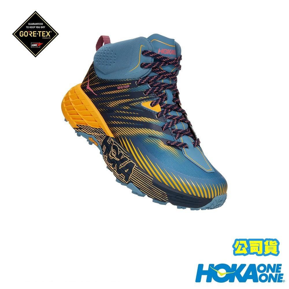 【Hoka One One】新品 女Speedgoat Mid 2 中筒GORE-TEX登山鞋 霧藍/番紅花黃