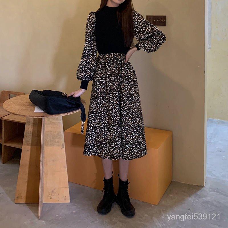 新款顯瘦長裙復古加絨法式打底碎花拼接秋冬連衣裙赫本小眾風收腰