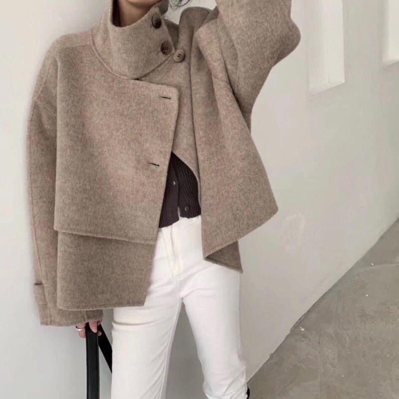 韓 立領剪裁羊毛外套