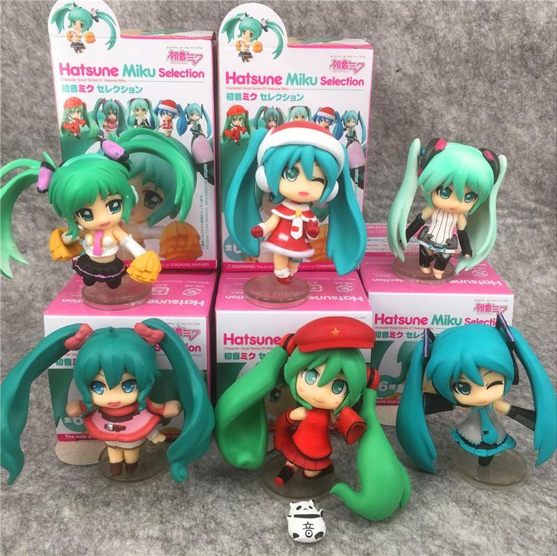日本動漫 全6款Q版聖誕款初音未來 啦啦隊應援娃娃機彩盒公仔