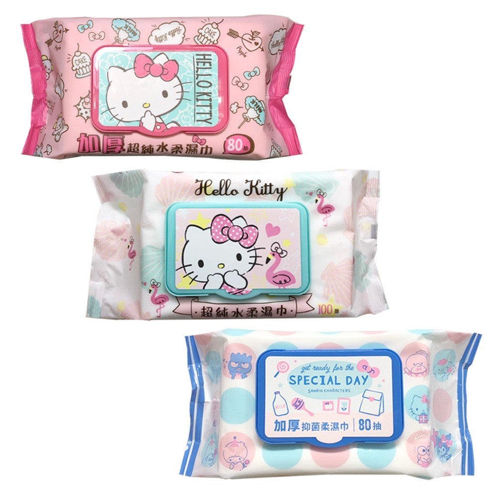 Hello Kitty 三麗鷗好朋友有蓋柔濕巾繽紛組 超純水100抽+加厚超純水80抽+加厚抑菌80抽 共24包(箱購)
