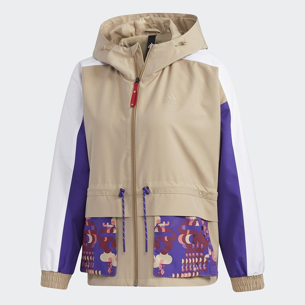 Adidas CNY 女裝 外套 連帽 寬鬆 可調式帽緣 收腰 翻蓋口袋 農曆新年 米白紫【運動世界】GP0611