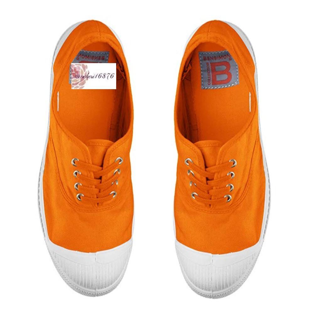 代購 法國19春夏新款bensimon基本款薑黃橘色綁帶帆布鞋
