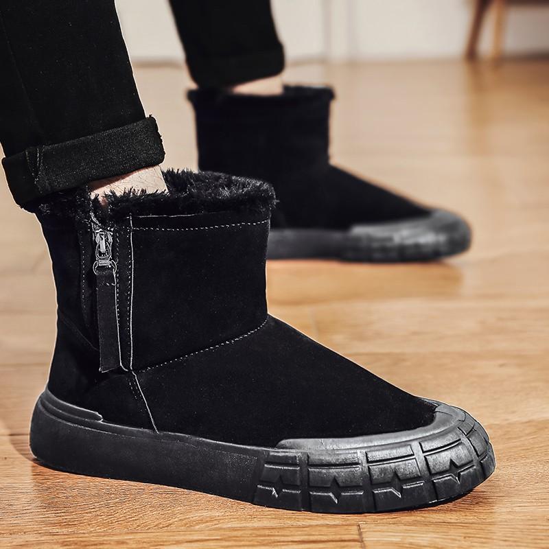 男士馬丁靴 冬季男鞋雪地靴加絨保暖馬丁靴面包棉鞋高幫皮靴加絨男士棉靴