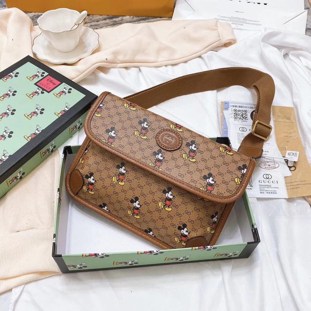 獨家實拍 新款Gucci古馳 米奇四扣腰包 兩用 胸口包 腰包 最新系列復古單肩包 斜挎包24小時出貨