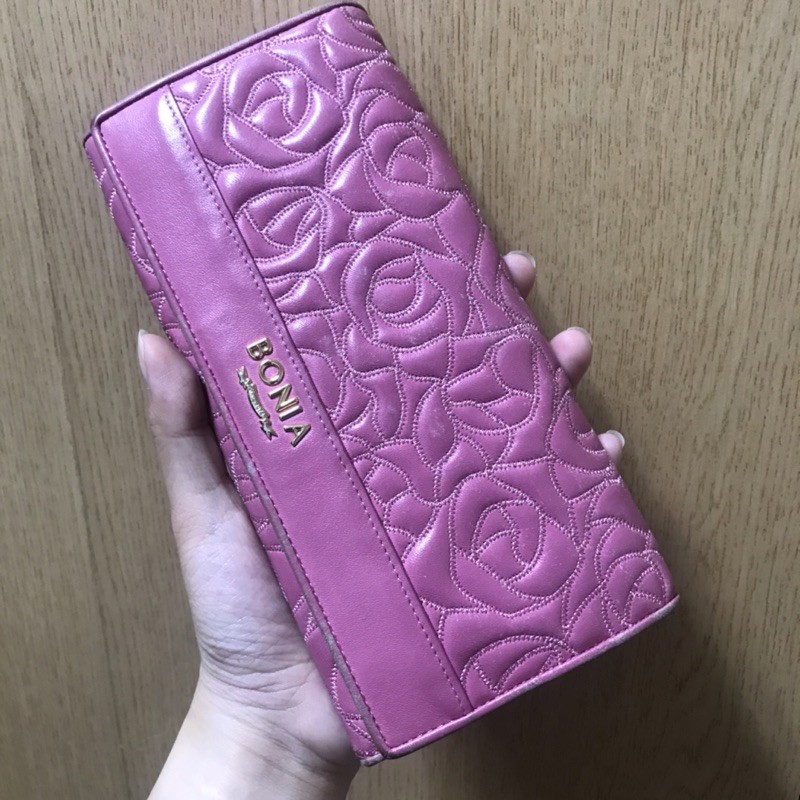 BONIA玫瑰粉色長夾