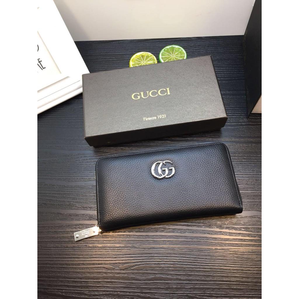 (COCO小卖铺)Gucci 古馳錢夾 長夾 男包包  Gucci皮夾 黑色壓紋真皮錢包 男用長夾 Gucci拉鏈包