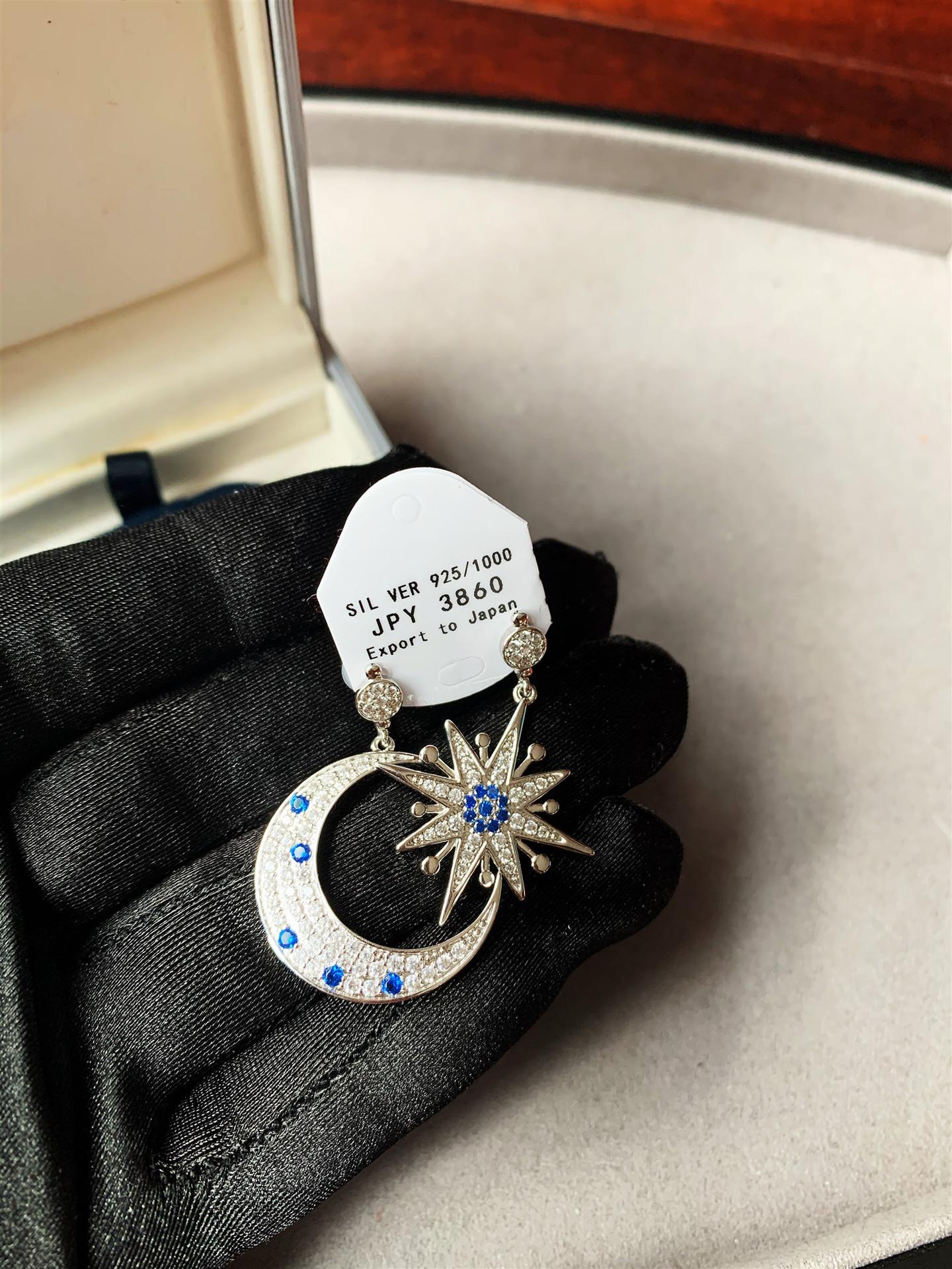 重工復古不對稱星月耳環設計師t家耳環日韓925耳釘歐美大牌網紅