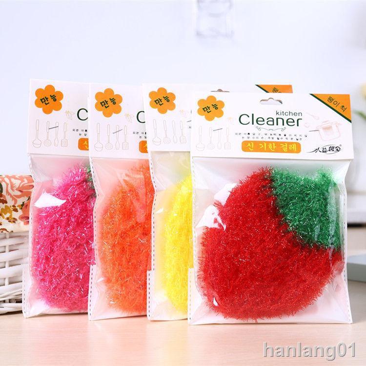 ♘✾❒韓國不沾油洗碗巾雙層加厚玻璃絲勾草莓洗碗布廚房抹布家用百潔布11