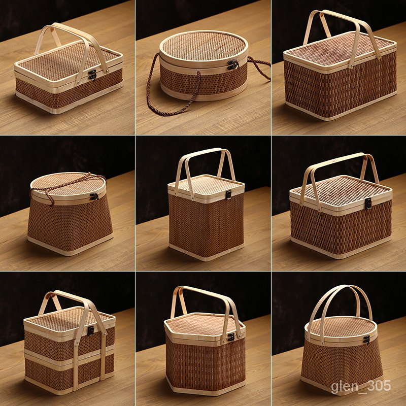 台灣熱賣 純手工竹編提籃月餅籃上圓下方粽子籃水果籃年貨茶葉竹製禮盒包裝 Hq0B