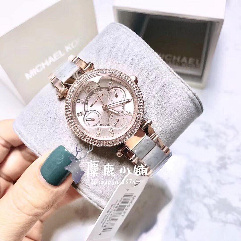 麋鹿小铺✨免運Michael Kors MK手錶 mk女錶 MK6327 紫色不鏽鋼帶間膠款三眼計時日期女士腕錶女生手錶