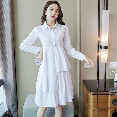 洋裝實拍連身裙秋季棉韓版襯衫女中長款寬松不規則洋氣襯衣式連衣裙.T539B.8802胖胖美依