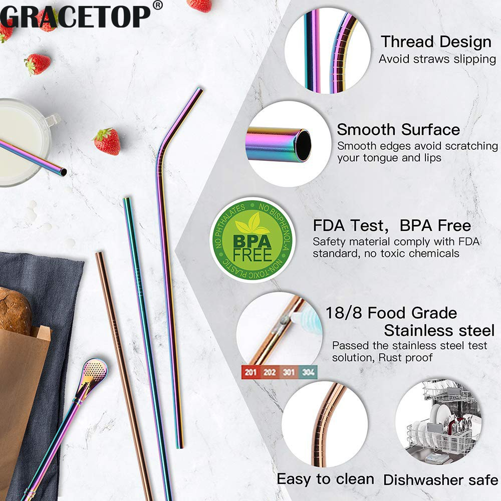 Gracetop 1 件不銹鋼金屬肘吸管桿飲用可水洗吸管可重複使用的直吸管刷