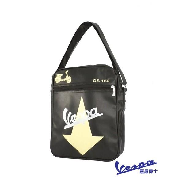 【嘉晟偉士】Vespa 偉士牌 原廠質感 環保皮革 肩背包 側背包 A4雜誌可入 Vespa GS150 黑色