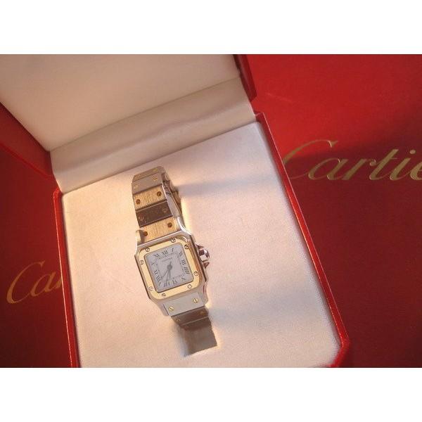CARTIER SANTOS 18 K金SS SM自動上鍊機械女錶