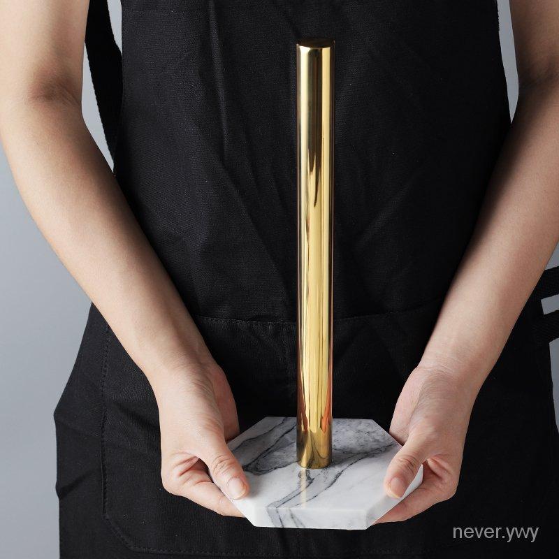北歐復古風天然大理石鍍金色廚房紙巾架捲紙架 桌面飾品收納架子