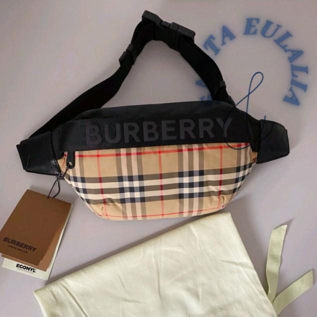 『SE二手』BURBERRY 博柏利  腰包 中號 Vintage 格紋尼龍 胸包 80113921男生胸包 現貨 實拍