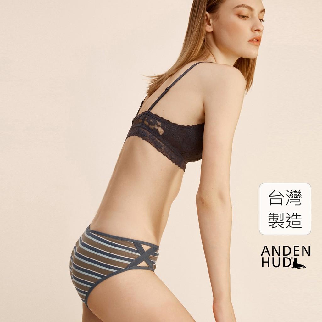 【Anden Hud】Wild.斜邊交叉中腰三角內褲(藍/綠/米膚條) 台灣製