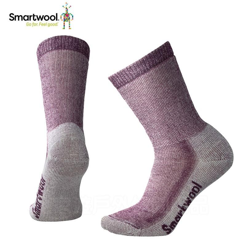 【SmartWool 美國】戶外運動女美麗諾羊毛襪 中級減震徒步襪 黑醋栗紫/灰褐 S/M SW0SW294524