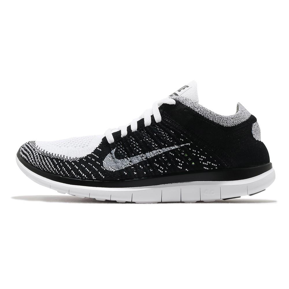 NIKE FREE 4.0 FLYKNIT 黑白 男 編織 襪套 運動 慢跑鞋 631053100
