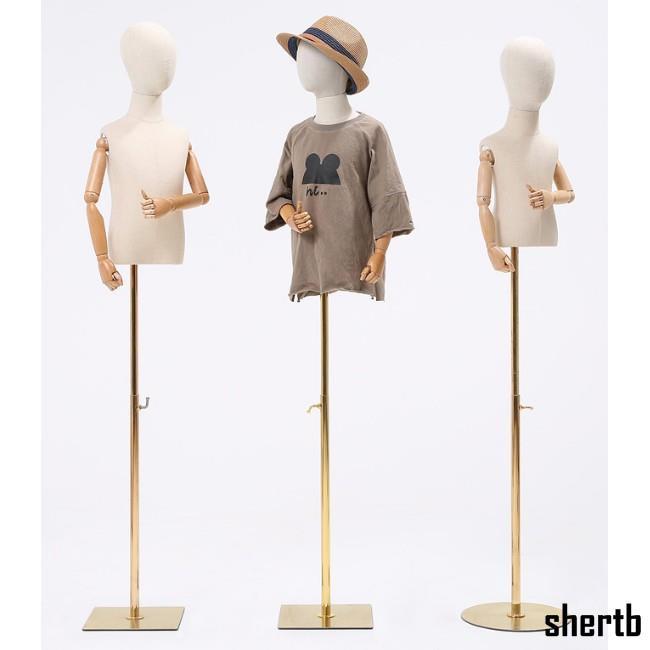 【新款優品】兒童模特道具半身櫥窗展示架全身小孩童裝店包布頭金色鐵底座人臺