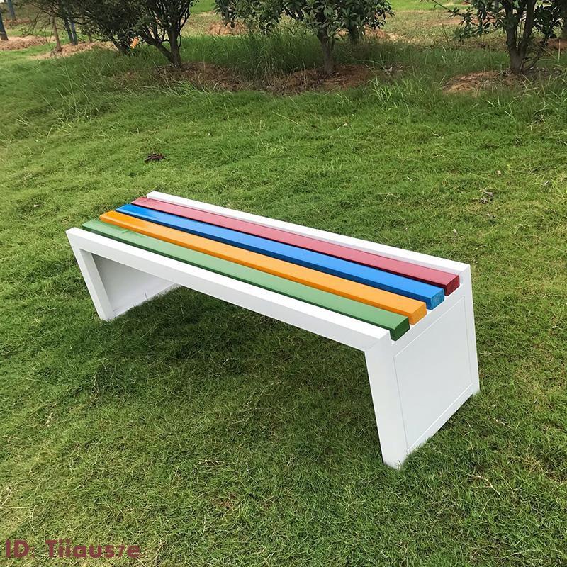 公園椅戶外長椅長凳子靠背鐵藝防腐木長凳實木長條椅小區球場椅子 秋明百貨鋪