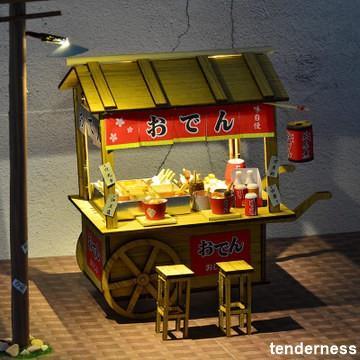 Tendernessの創意食玩木質拼裝模型木質diy小屋關東煮地攤夜市小吃攤車仔檔大
