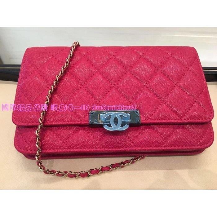 國際精品代購 Chanel 新款 WOC 鍊帶發財包 黑 / 紅
