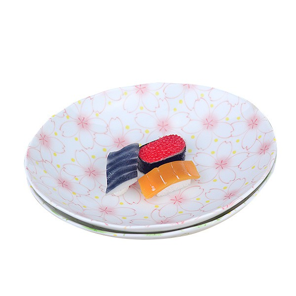 【堯峰陶瓷】日式大東亞櫻花系列8.5吋橢圓盤 粉櫻/綠櫻 蛋糕盤 料理盤 野餐擺盤適用