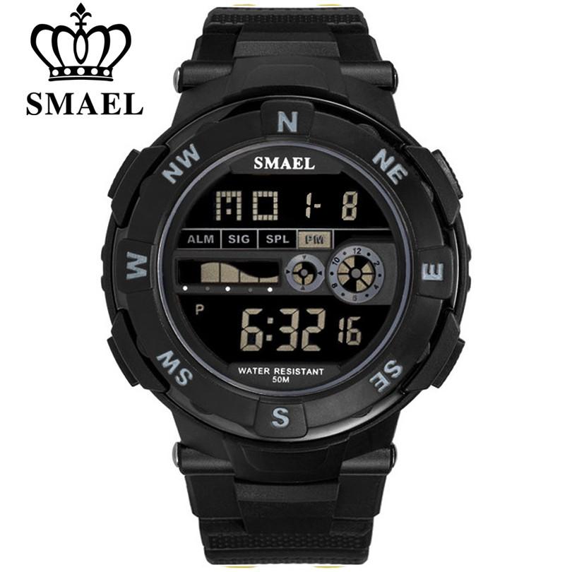 SMAEL品牌男士運動手錶3Bar防水數字LED軍事男士數字電子手錶1361B