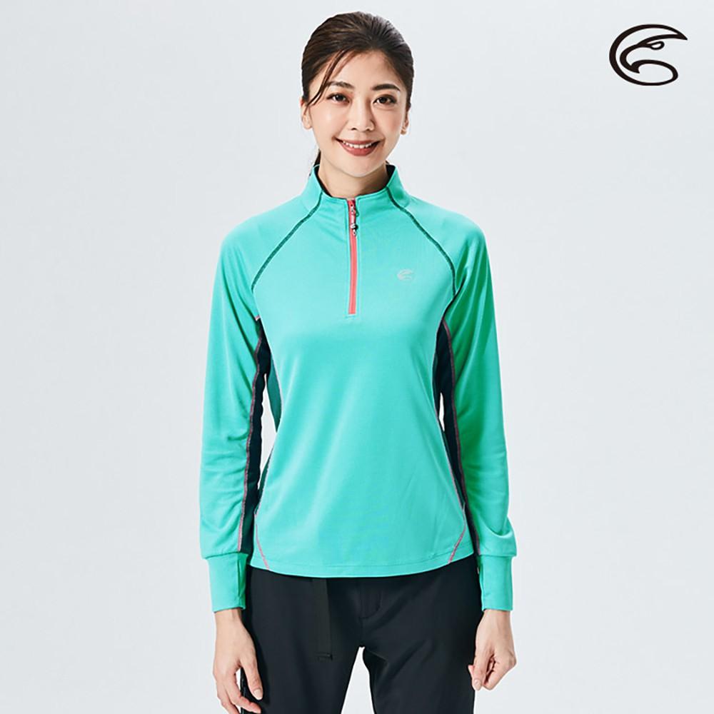 ADISI 女半門襟抗靜電紗長袖上衣AL2021064【湖水藍】(S-XL) 透氣保暖 排汗速乾 機能服