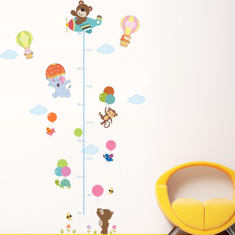 現貨可超取 卡通小熊猴子身高壁貼身高墻貼幼儿園環境佈置貼畫環保可移