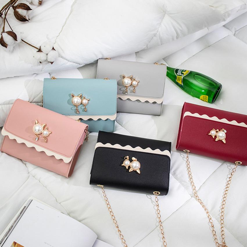 【免運】復古pu皮小方包 氣質chic時尚吊飾手機包 好看百搭斜挎單肩包 拼色手機袋鏈帶小包
