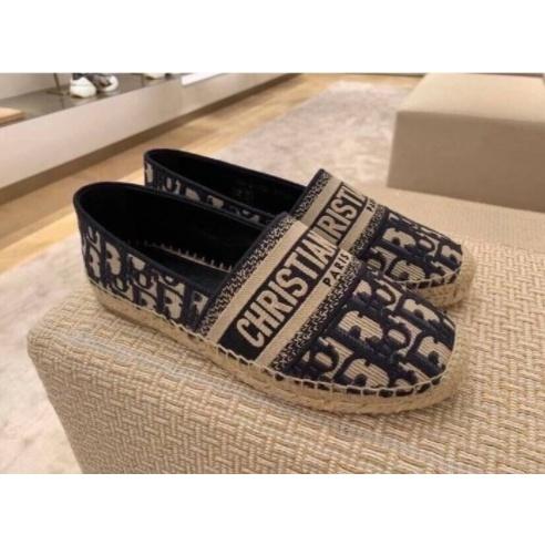 《精品二手》Dior Granville 藍色 刺繡 缇花 編織 棉麻 鉛筆鞋 漁夫鞋 現貨