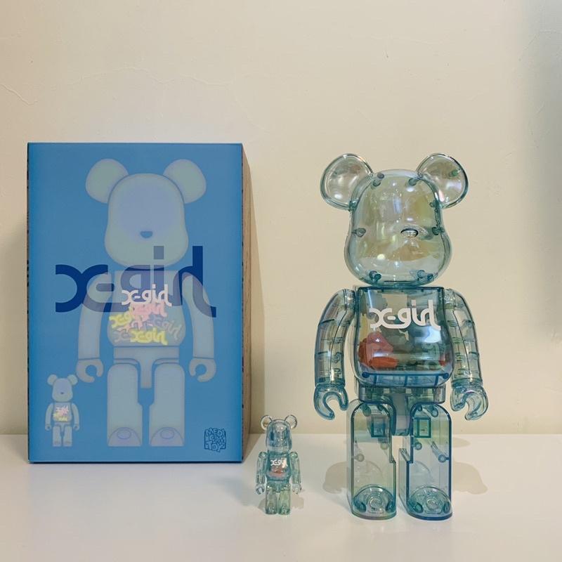 全新現貨 BE@RBRICK X-girl 2021 三代 透明 夜光 藍色 1000% 100%+400% 庫柏力克熊