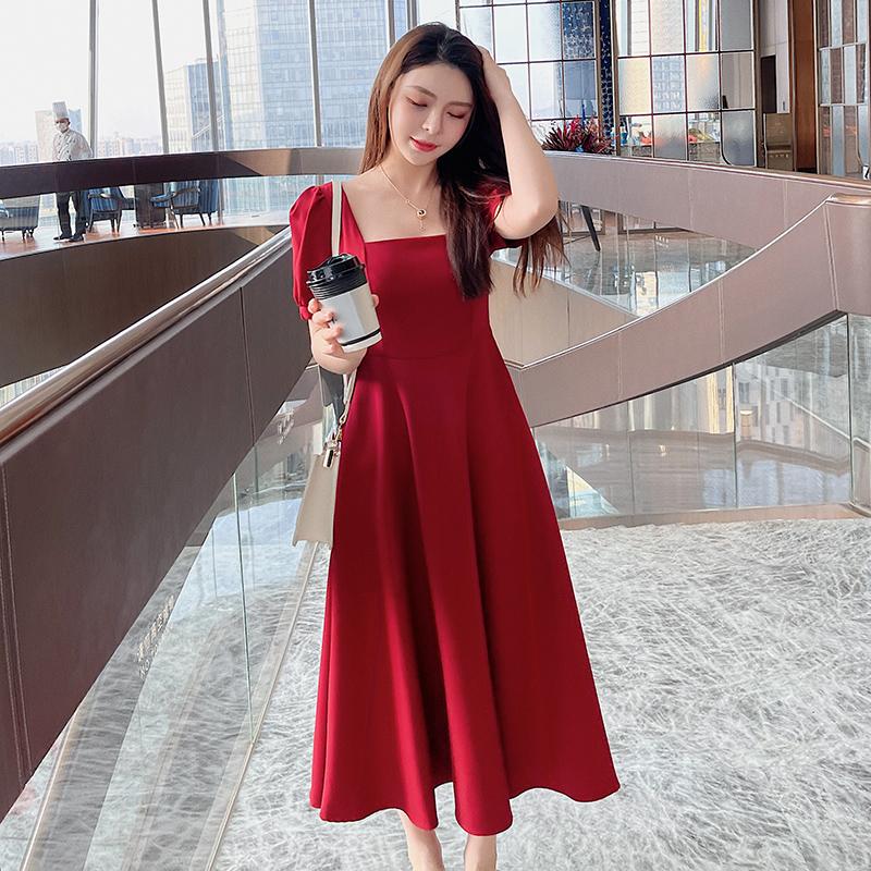 M-4XL大尺碼衣著 2021新款夏裝復古赫本風收腰顯瘦方領氣質女神範中長裙