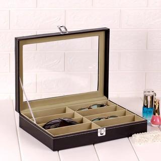 現貨皮革眼鏡收納盒8格12時尚太陽鏡展示盒皮質大墨鏡盒多格首飾展示飾品盒收納箱首飾盒珠寶盒交換禮物聖誕禮物