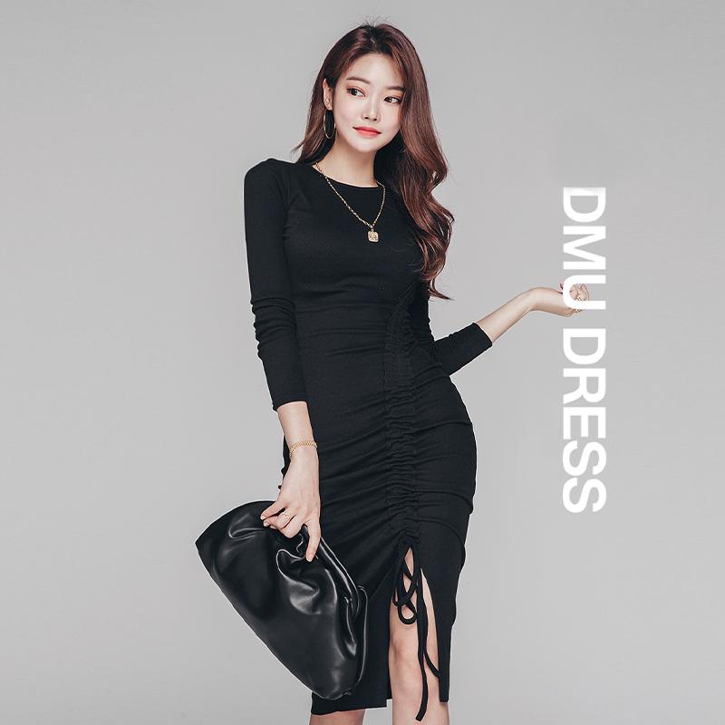 抽繩縮皺顯身材正韓洋裝黑色顯瘦及膝中長彈力緊身洋裝連衣裙