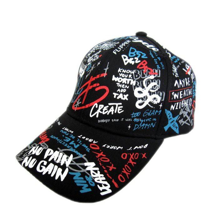 【海倫精坊】街頭風~塗鴉英字圖騰色棒球帽~限量款(特價220元)D771
