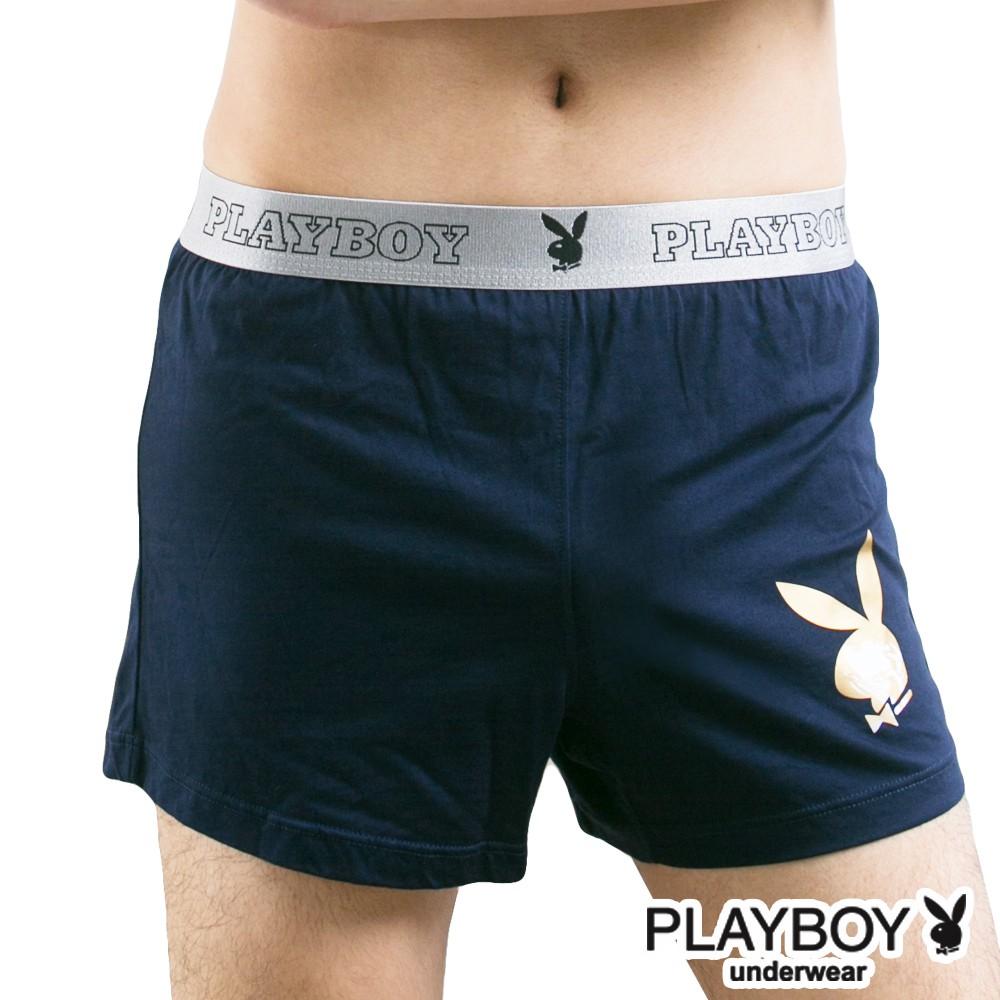 PLAYBOY 男內褲 兔頭Logo印花針織四角褲 平口褲-單件-丈青色-PB212A