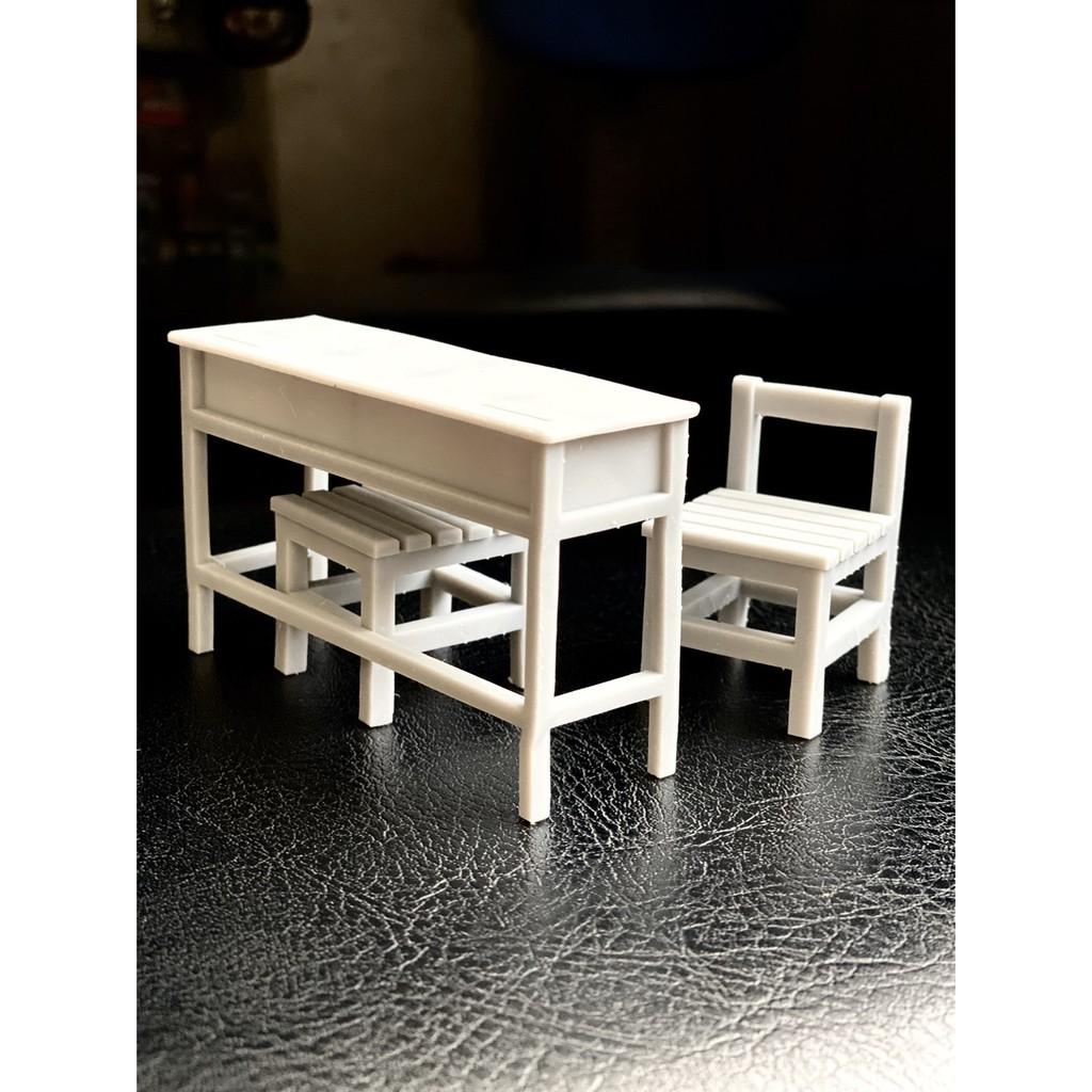懷舊 復古 國中 國小課桌椅 比例還原--光固化3D列印1/12素模