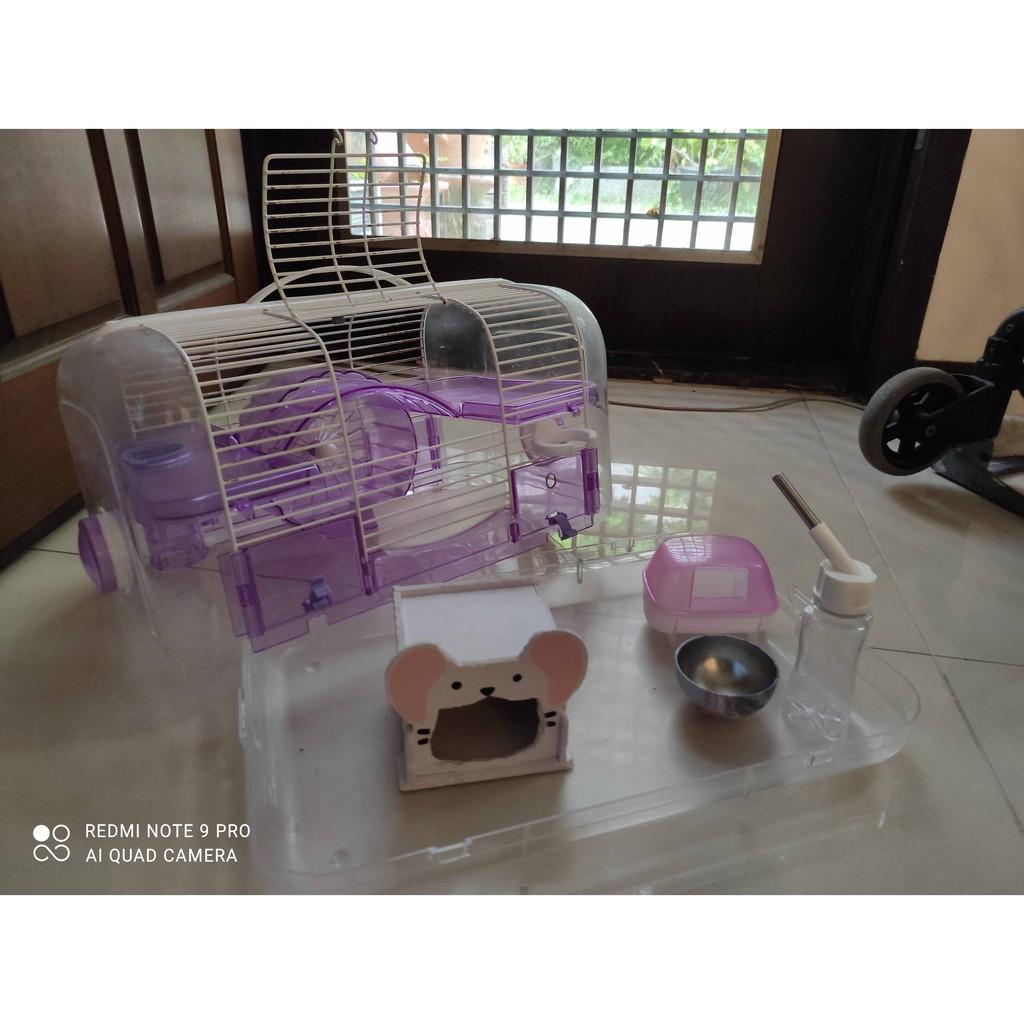 (二手) 雙層倉鼠籠 含滾輪 飲水器~送飼料、木屑(已拆)