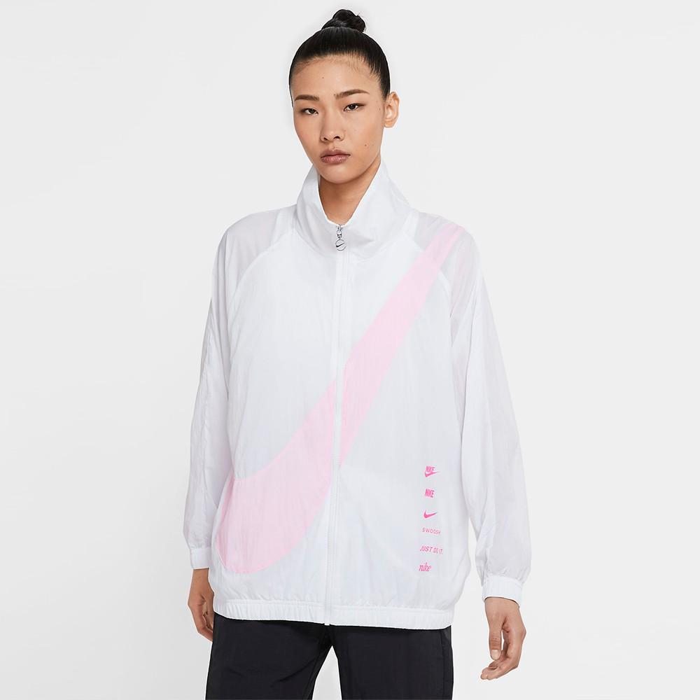 NIKE NSW Swoosh 女裝 外套 立領 風衣 慢跑 休閒 串標 大勾 白 【運動世界】 DA0981-100